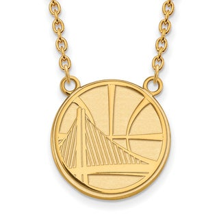 Gold Plated Golden State Warriors Large pendant with Necklace - Yellow