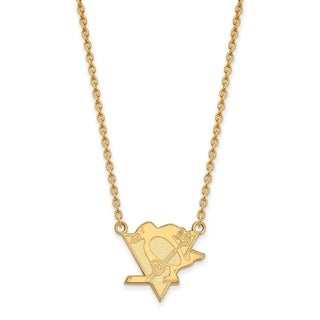 Sterling Silver with Gold Plating NHL LogoArt Pittsburgh Penguins Large Pendant with Necklace