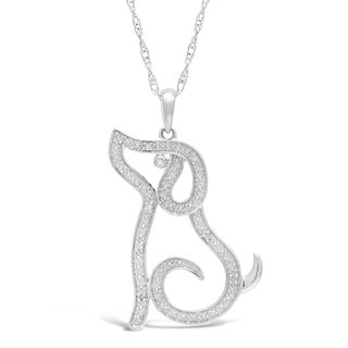 Sterling Silver Dog Pendant with Diamond Accent