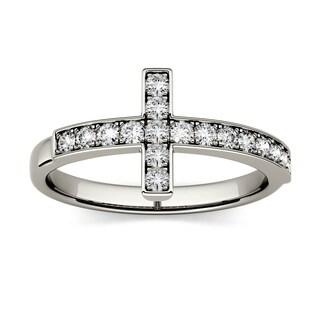 Charles & Colvard 14k White Gold 1/3ct DEW Forever Classic Moissanite Cross Ring