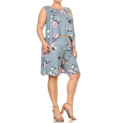 Women's Plus Size Floral Two-Piece Set