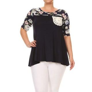 Women's Plus Size Floral Fabric Block Tunic