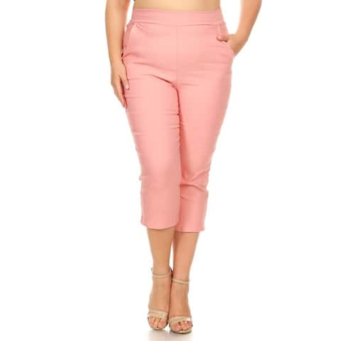 Women's Plus Size Solid Pink Pants