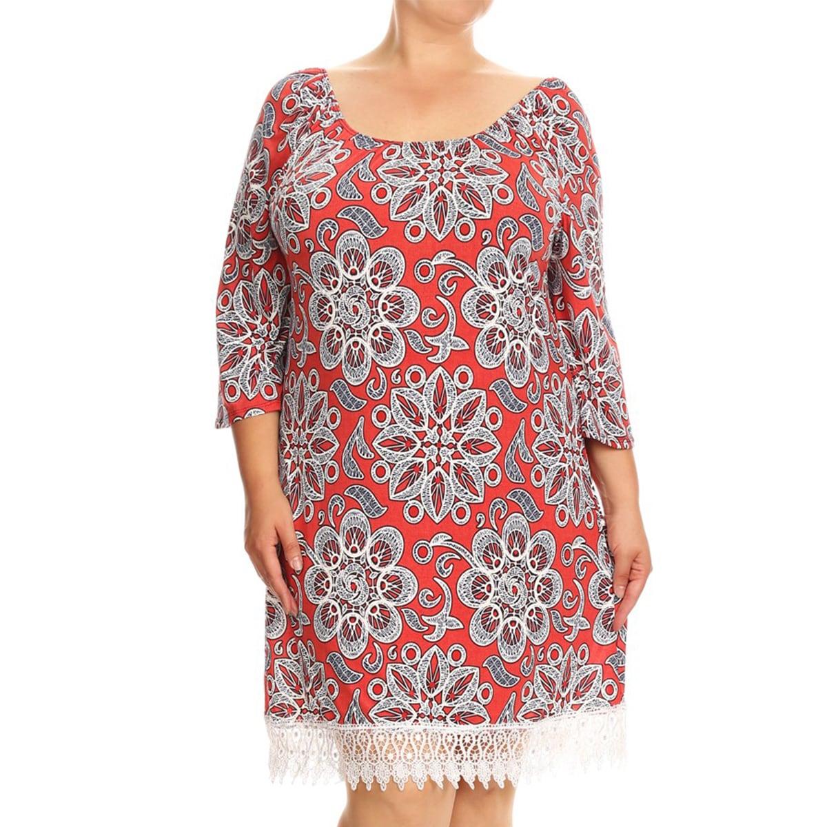 d4b6aa3e18 Women s Red Spanded Blend Plus Size Floral Crochet Lace Trim Dress ...