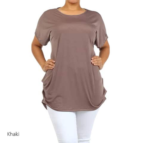 Women's Plus Size Solid Loose Fit Tunic