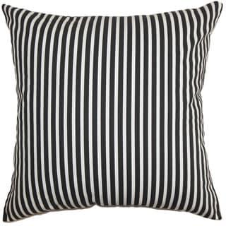 Elvy Stripes 24-inch  Feather Throw Pillow Black White
