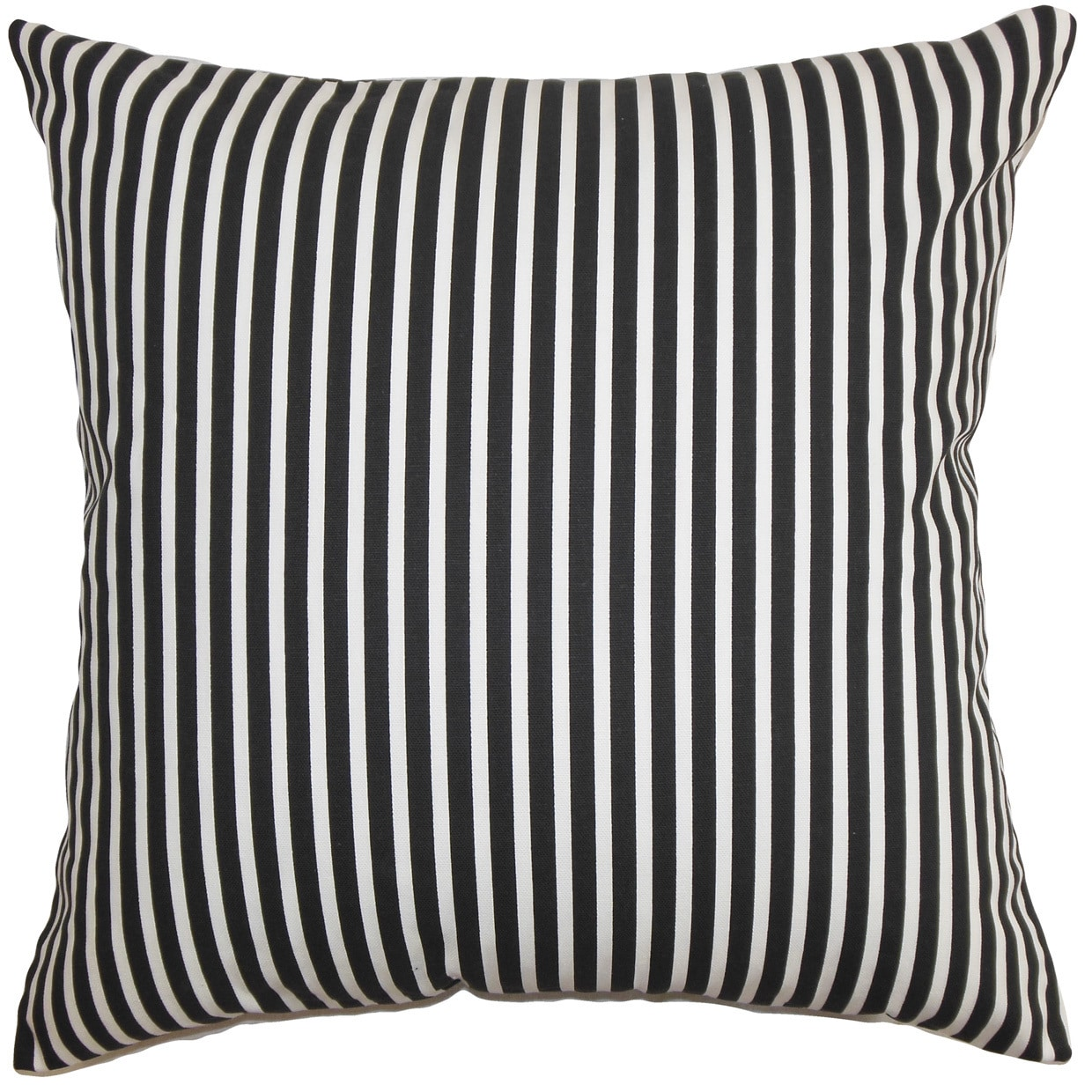 Elvy Stripes 24-inch  Feather Throw Pillow Black White (24 x 24)