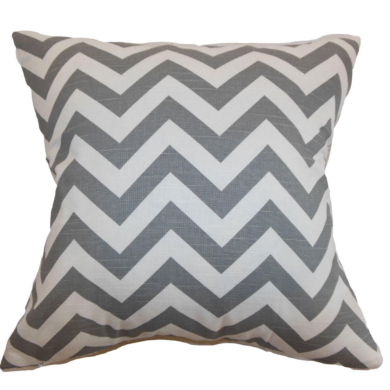 Xayabury Zigzag 24-inch  Feather Throw Pillow Ash White Slub (24 x 24)