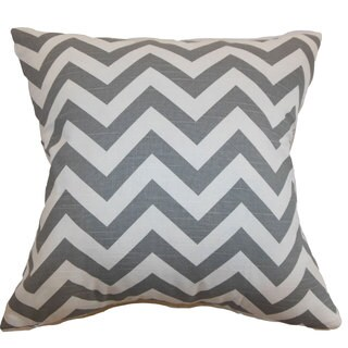 Xayabury Zigzag 24-inch Down Feather Throw Pillow Ash White Slub