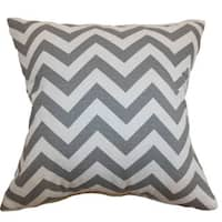 Xayabury Zigzag 24-inch  Feather Throw Pillow Ash White Slub