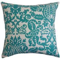 "Dolbeau Floral 24"" x 24""  Feather Throw Pillow Turqoise"
