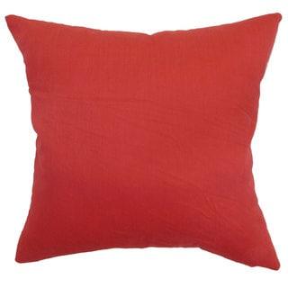 Calvi Plain 24-inch  Feather Throw Pillow Red