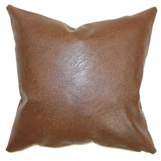 Airlie Faux Leather 24-inch Down Feather Throw Pillow Brown