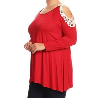 Women's Plus Size Solid Crochet Lace Shoulder Tunic