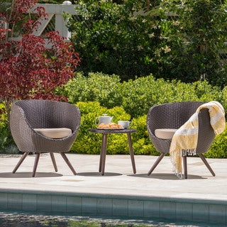 Easter Island Outdoor Wicker Round Bistro Set with Cushions by Christopher Knight Home