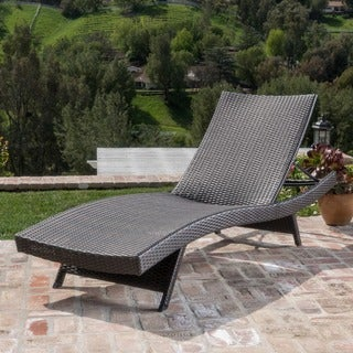 Thira Outdoor Aluminum Wicker Chaise Lounge by Christopher Knight Home