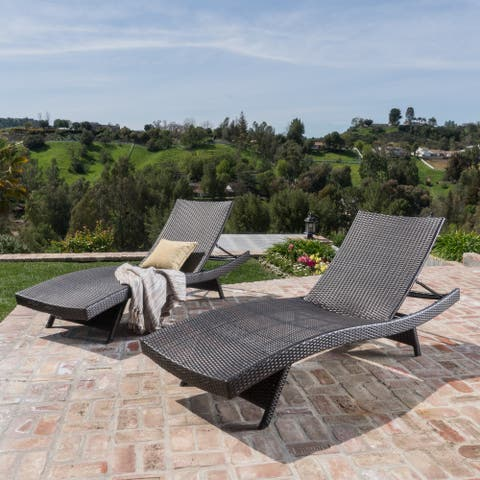 Thira Wicker Chaise Lounge Chair (Set of 2) by Christopher Knight Home