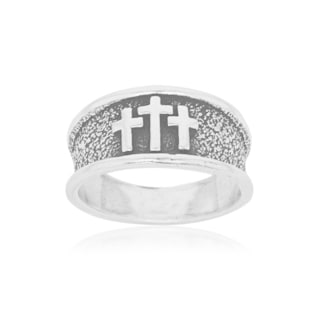 Men's Sterling Silver Antiqued Band Ring with 3 Crosses