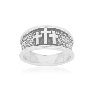 Men's Sterling Silver Antiqued Band Ring with 3 Crosses - White