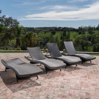 Thira Outdoor Aluminum Wicker Chaise Lounge by Christopher Knight Home (Set of 4)