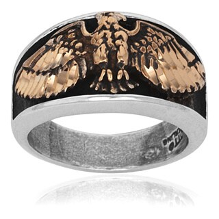 Sterling Silver and Bronze Spread Eagle Biker Ring - White
