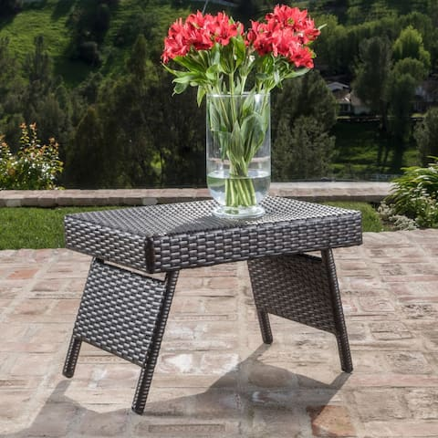 Thira Outdoor Aluminum Wicker Accent Table by Christopher Knight Home