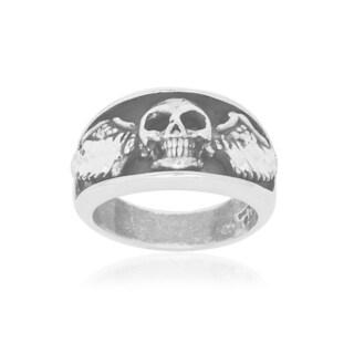 Men's Sterling Silver Skull With Wings Biker Ring - White
