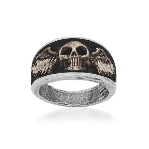 Sterling Silver Bronze Skull Biker Ring - White