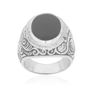 Men's Sterling Silver and Black Onyx Scroll Ring
