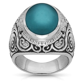 Mens Sterling Silver Bold Scroll Design Oval Simulated Turquoise Ring