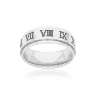 Stainless Steel Mens 8mm High Polish Roman Numerals Spinner Ring - White