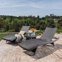 Thira Outdoor 3-piece Aluminum Wicker Chaise Lounge Set by Christopher Knight Home