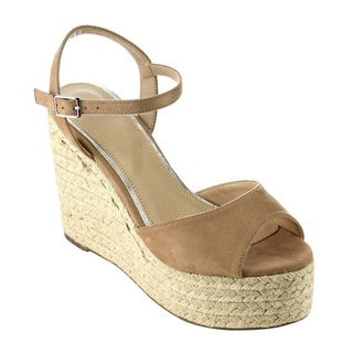 Beston FH89 Women's Ankle Strap Peep Toe Espadrille Wedge Sandals