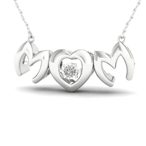 De Couer IGI Certified 1/20ct TDW Diamond Mom Heart Necklace - White