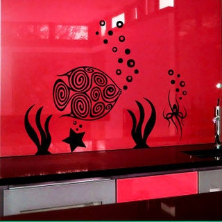 Starfish Seaweed Ocean Matt Vinyl Wall Art Cupboard Laptop Decal Sticker