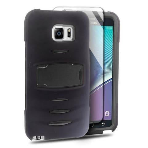 Insten Soft Silicone/ PC Dual Layer Hybrid Rubber Case Cover with Stand/ Screen Protector For Samsung Galaxy Note 5