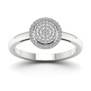 De Couer 1/6ct TDW Diamond Halo Engagement Ring - White