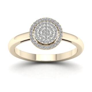 De Couer 1/6ct TDW Diamond Halo Engagement Ring - Yellow