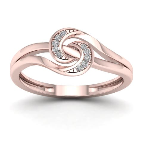 De Couer IGI Certified 1/20ct TDW Diamond Double Split Shank Fashion Ring - Pink