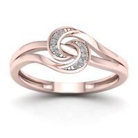 De Couer 1/20ct TDW Diamond Double Split Shank Fashion Ring - Pink