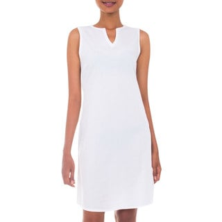 Handmade Cotton 'Lily in White' Dress (Indonesia) (As Is Item)