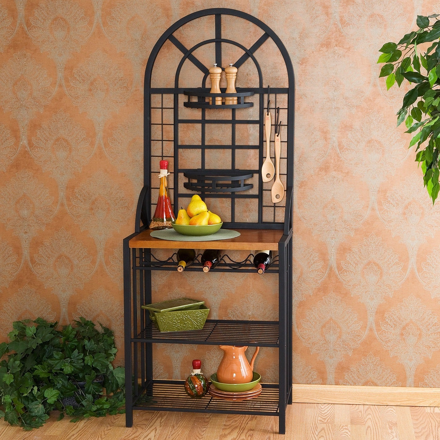 Harper Blvd Black Wood Dome Baker's Rack