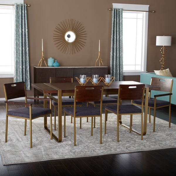 70 Inch 7 Piece Gold Accent Dining Set