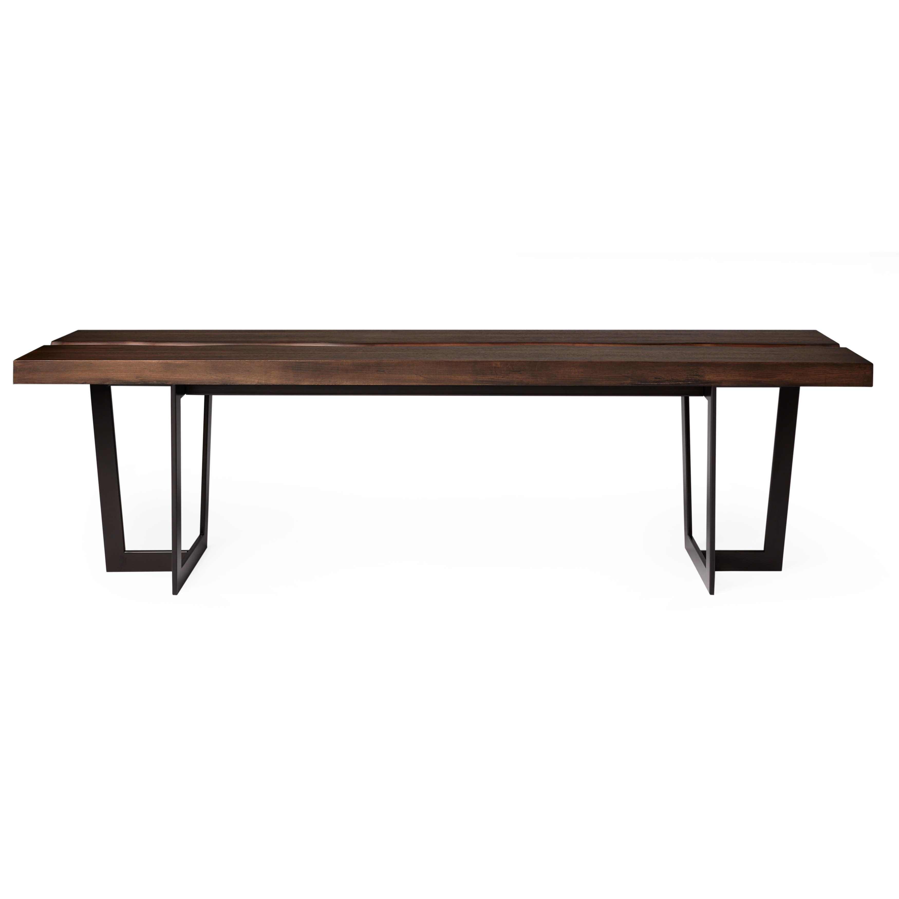 Smokey Live Edge Industrial 63 Inch Bench