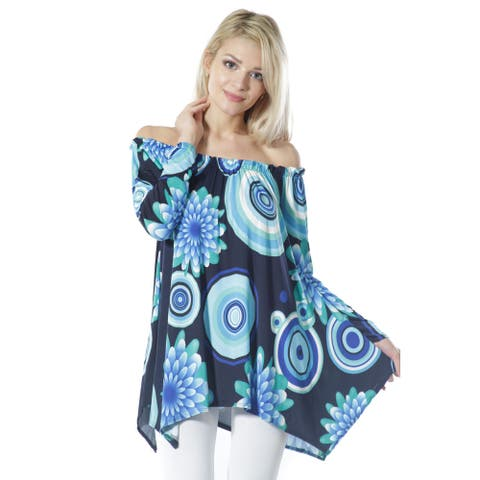 JED Women's Stretchy Off Shoulder Multi-Print Tunic Top