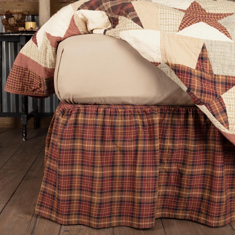 VHC Brands Abilene Star Bed Skirt (Queen), Brown (Cotton,...