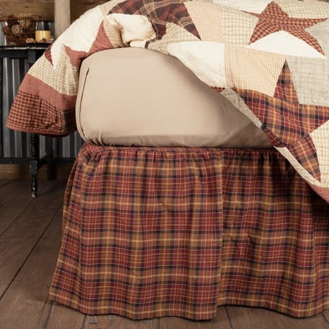 Red Country Bedding VHC Abilene Star Bed Skirt Cotton Plaid Gathered