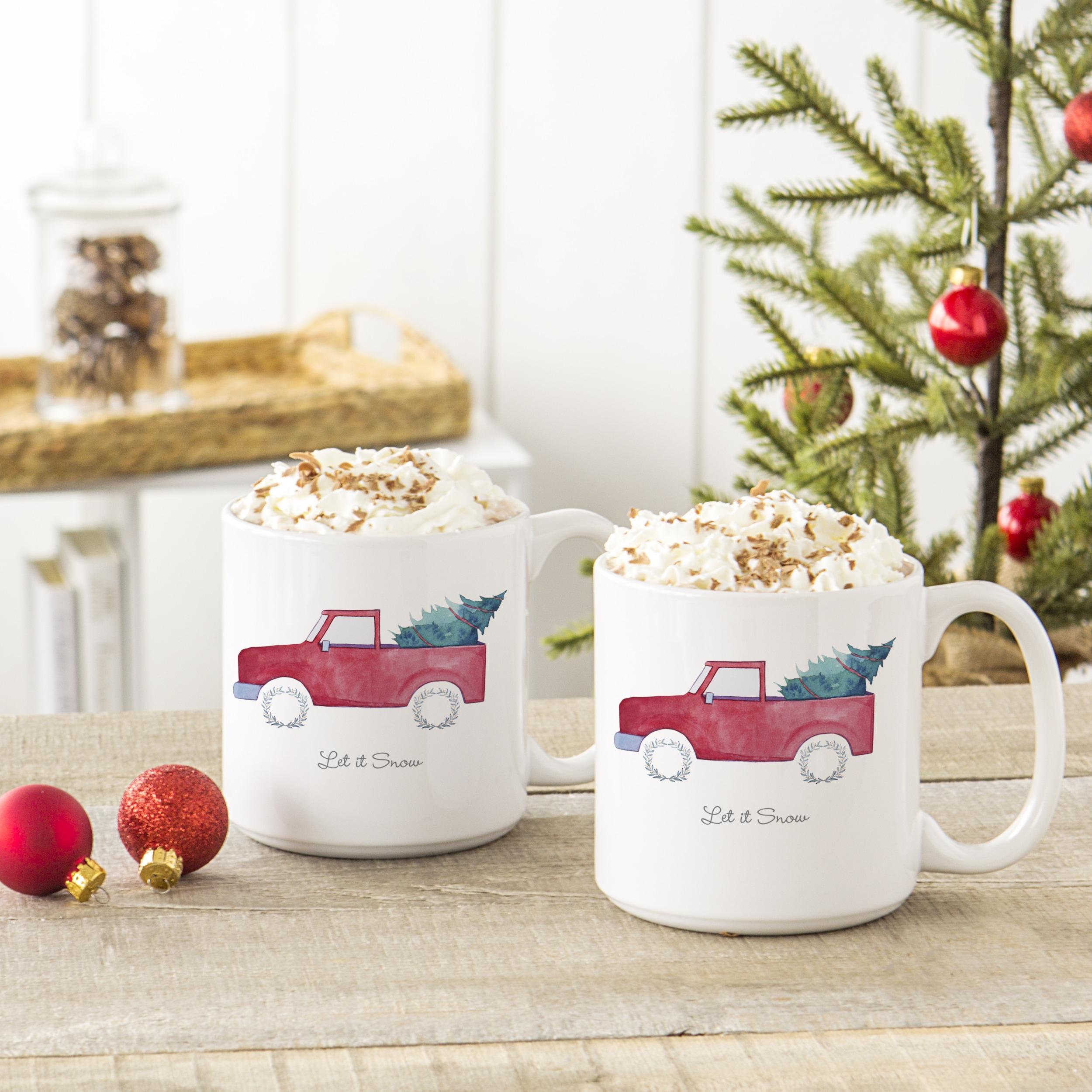 Christmas Tree Truck 20 Oz Large Coffee Mugs Set Of 2 Overstock 15433757