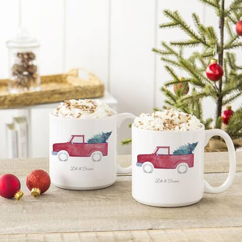 Christmas Tree Truck 20 oz. Large Coffee Mugs (Set of 2)
