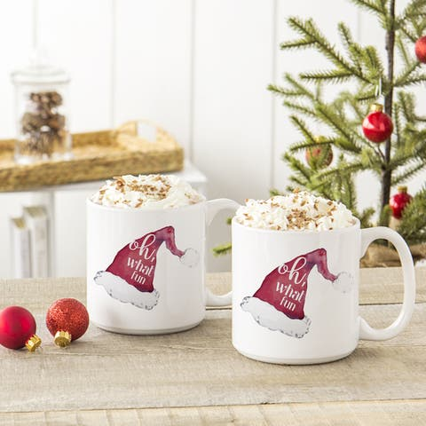 Oh What Fun Santa Hat 20 oz. Large Coffee Mugs (Set of 2)